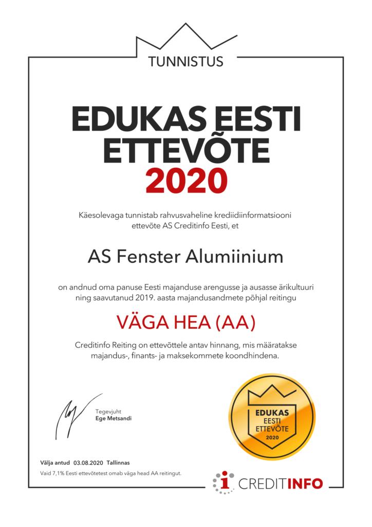 Rahvusvaheline krediidiinformatsiooni ettevöte AS Creditinfo Eesti tunnistab et, AS Fenster Alumiinium on andnud oma panuse Eesti majanduse ja ausasse ärikulttuuri ning saavutanud 2019. aasta majandusandmete pöhjal reitingu VÄGA HEA (AA)